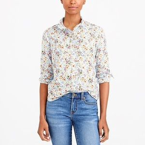 J. Crew Floral Printed Ruffle Washed Shirt